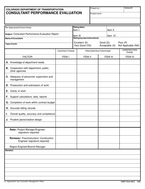 CDOT Form 313  Printable Pdf