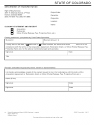 CDOT Form 444 Acquisition/Relocation Closing Statement and Receipt - Colorado