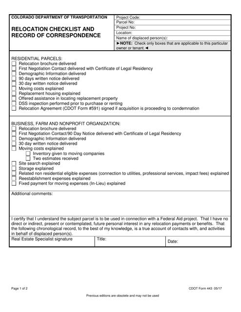CDOT Form 443  Printable Pdf