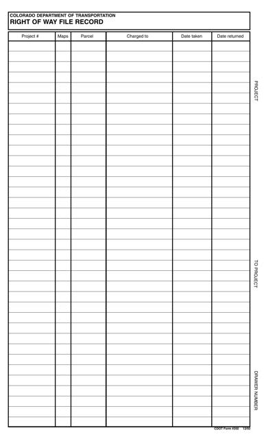 CDOT Form 350  Printable Pdf