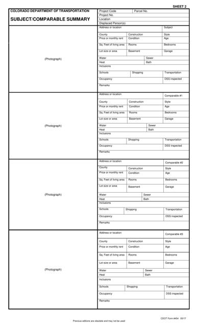 CDOT Form 454  Printable Pdf
