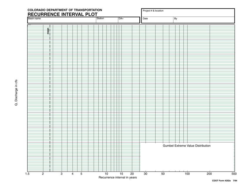 CDOT Form 292E  Printable Pdf