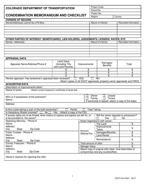 CDOT Form 441  Printable Pdf
