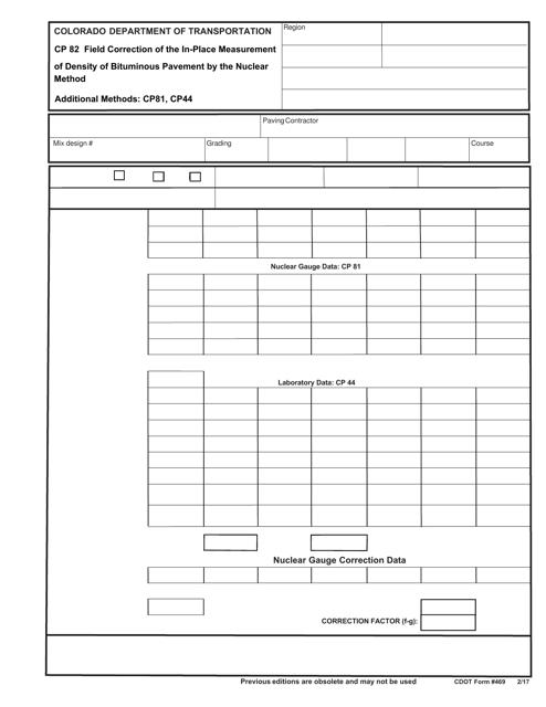 CDOT Form 469  Printable Pdf