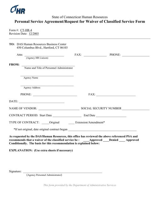 Form CT-HR-4  Printable Pdf
