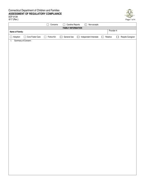 Form DCF-013A  Printable Pdf