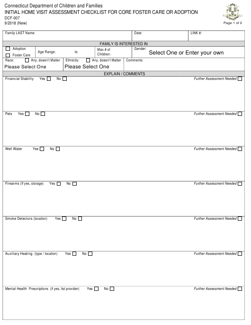 Form DCF-007  Printable Pdf