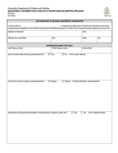Form DCF-023  Printable Pdf