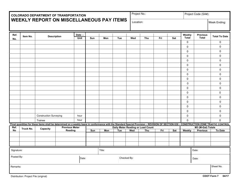 CDOT Form 7  Printable Pdf