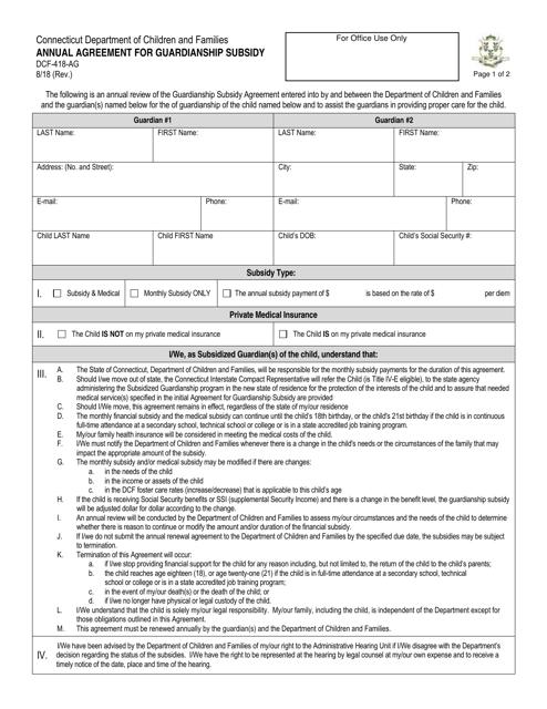 Form DCF-418-AG  Printable Pdf