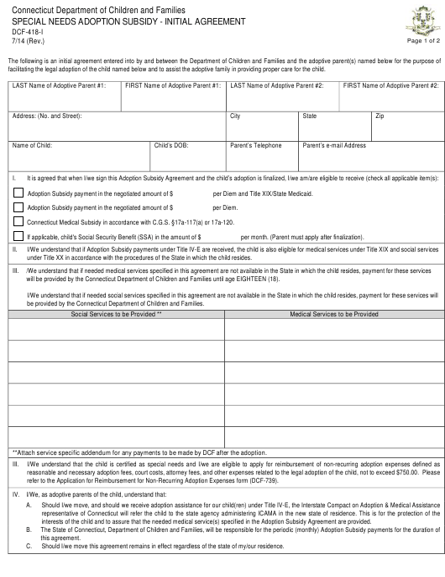 Form DCF-418-I  Printable Pdf