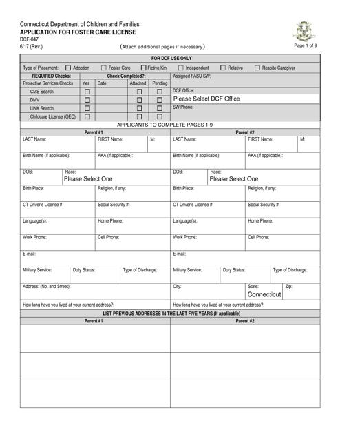 Form DCF-047  Printable Pdf