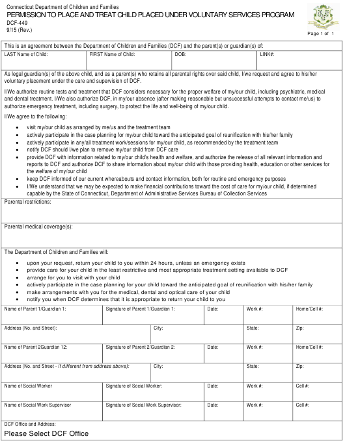 Form DCF-449  Printable Pdf