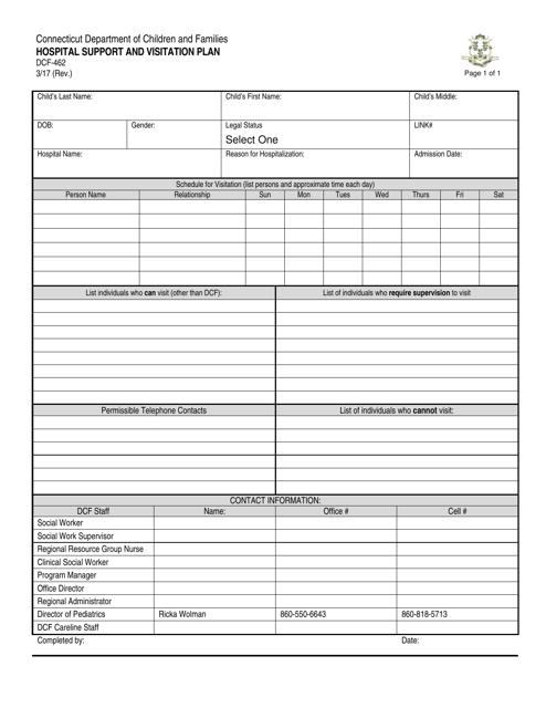 Form DCF-462  Printable Pdf