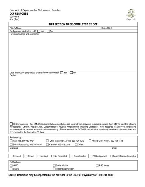 Form DCF-465R  Printable Pdf