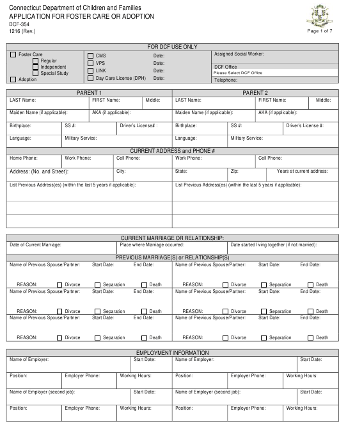 Form DCF-354  Printable Pdf