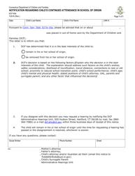 "Form DCF-604 ""Notification Regarding Child's Continued Attendance in School of Origin"" - Connecticut"
