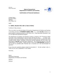 "Form DCF-634 ""Confirmation of Financial Assistance"" - Connecticut"