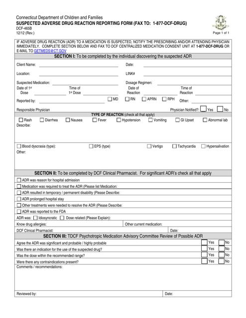 Form DCF-465B  Printable Pdf