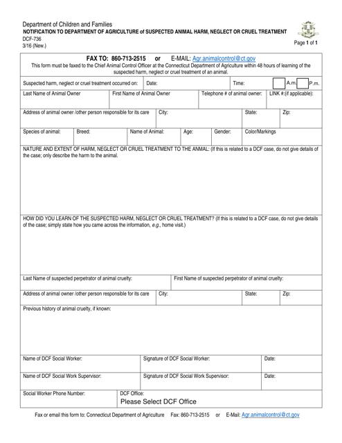 Form DCF-736  Printable Pdf