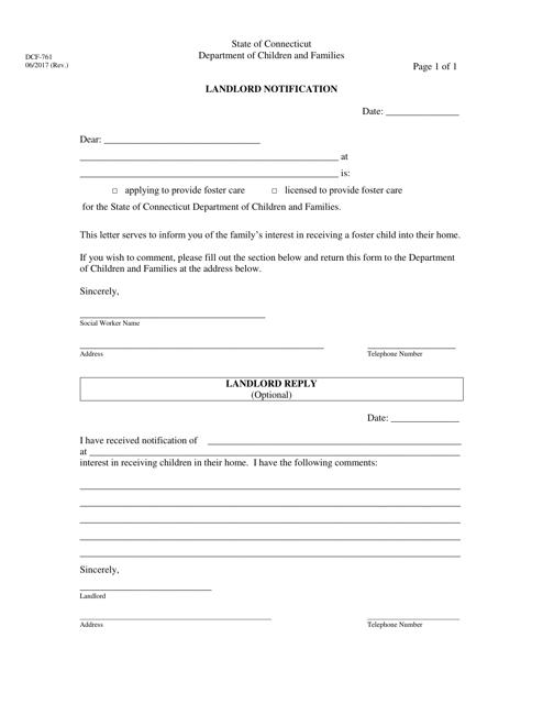 Form DCF-761  Printable Pdf