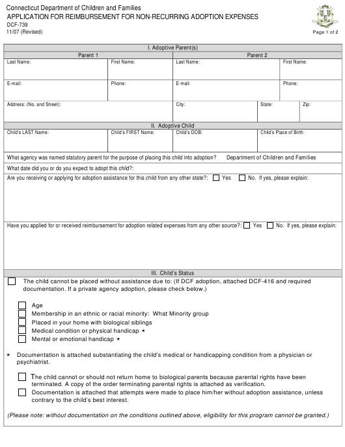 Form DCF-739  Printable Pdf