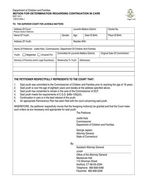 Form DCF-1011  Printable Pdf