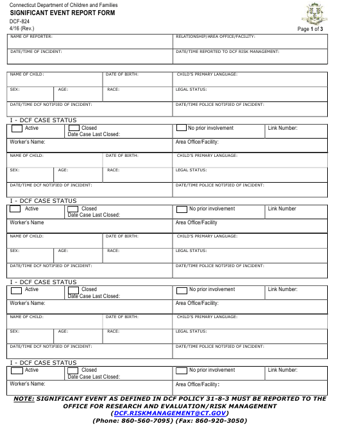 Form DCF-824  Printable Pdf