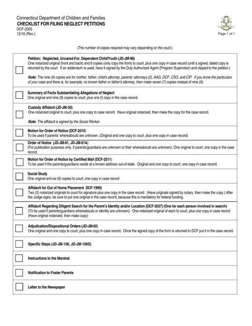 Form DCF-2005  Printable Pdf