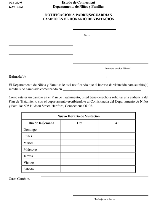Form DCF-2029S  Fillable Pdf