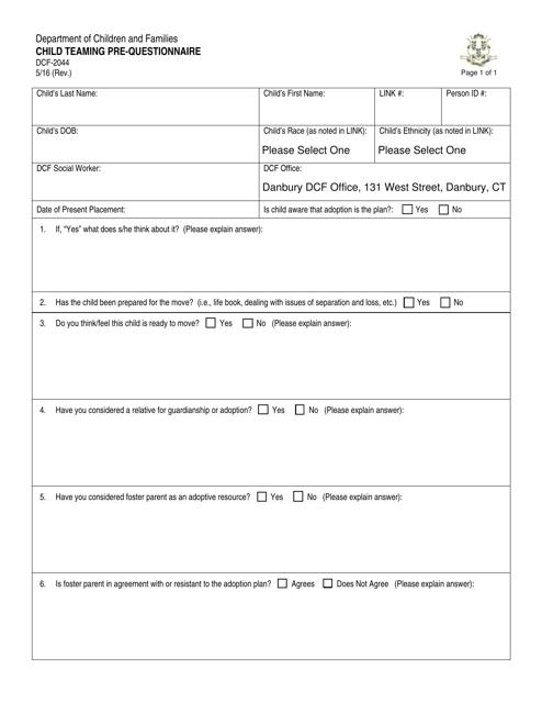 Form DCF-2044  Printable Pdf