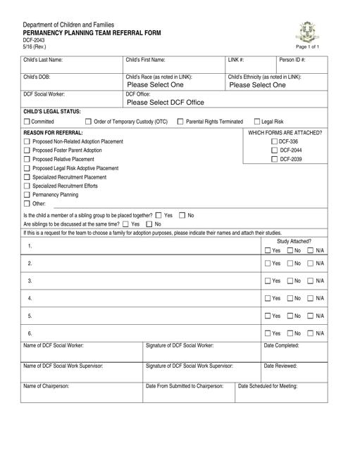 Form DCF-2043  Printable Pdf