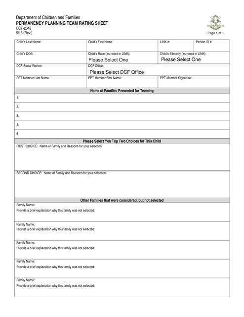 Form DCF-2048  Printable Pdf