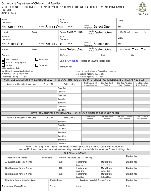 Form DCF-720  Printable Pdf