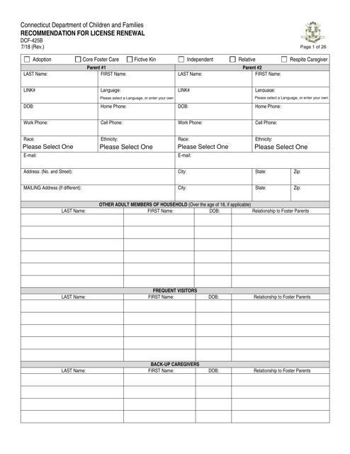 Form DCF-425B  Printable Pdf