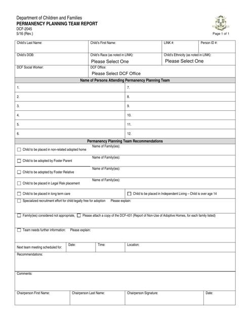 Form DCF-2045  Printable Pdf