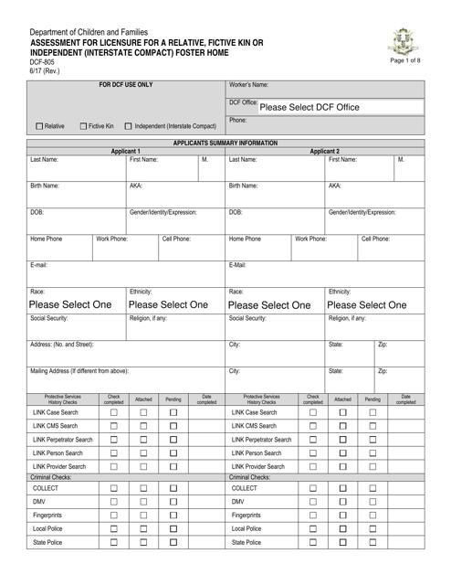 Form DCF-805  Printable Pdf