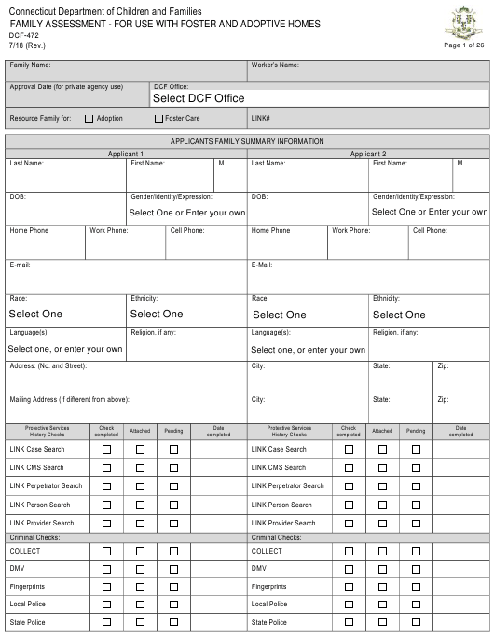 Form DCF-472  Printable Pdf