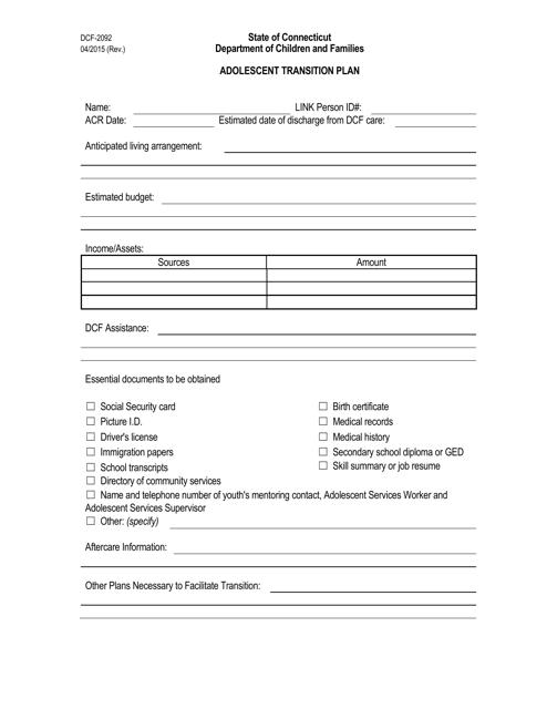 Form DCF-2092  Printable Pdf
