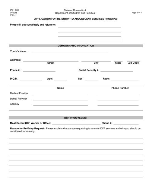 Form DCF-2095  Printable Pdf