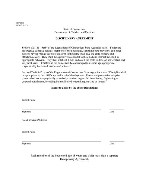Form DCF-2111  Printable Pdf