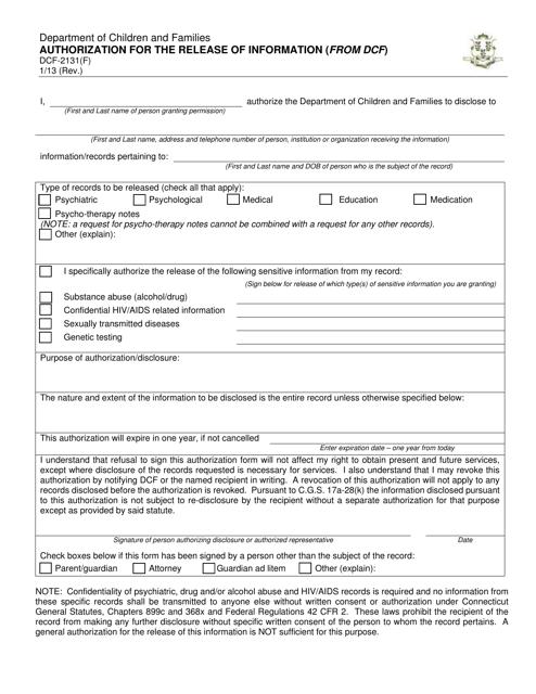 Form DCF-2131(F)  Printable Pdf