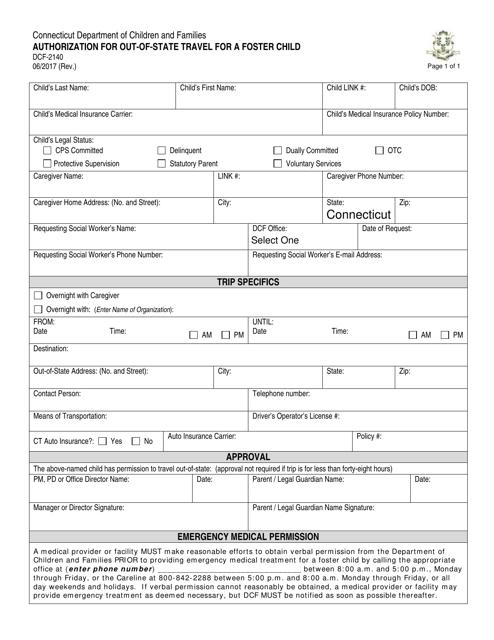 Form DCF-2140  Printable Pdf
