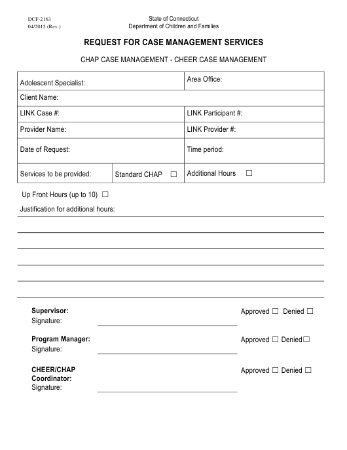 Form DCF-2163  Printable Pdf