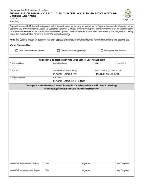 Form DCF-2153  Printable Pdf