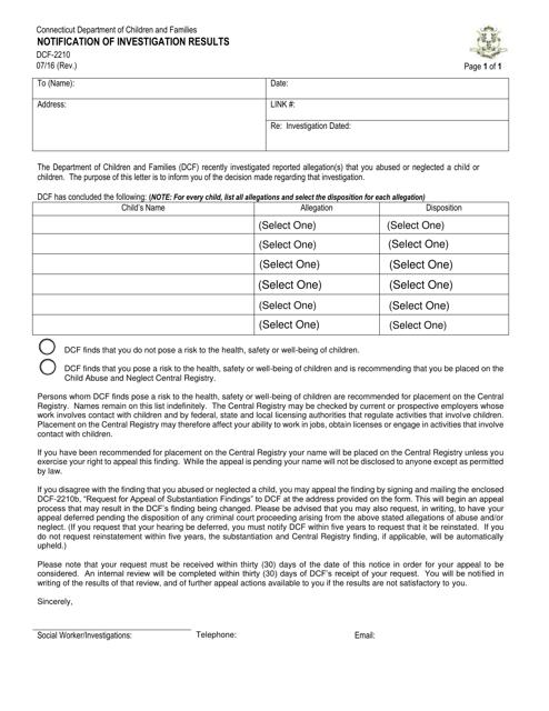 Form DCF-2210  Printable Pdf