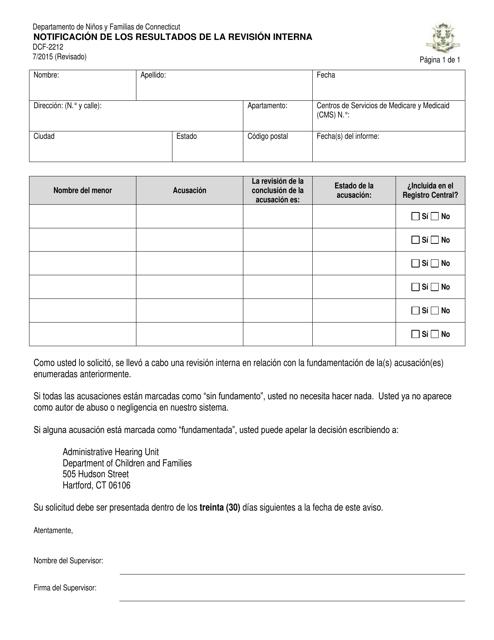 Formulario DCF-2212  Printable Pdf