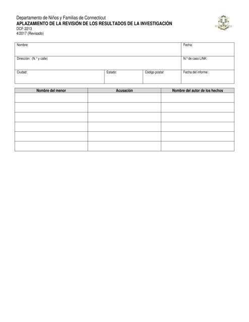 Formulario DCF-2213  Printable Pdf