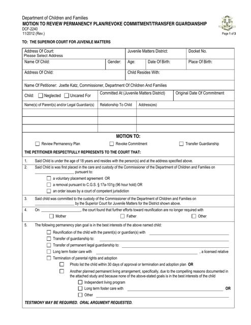 Form DCF-2240  Printable Pdf