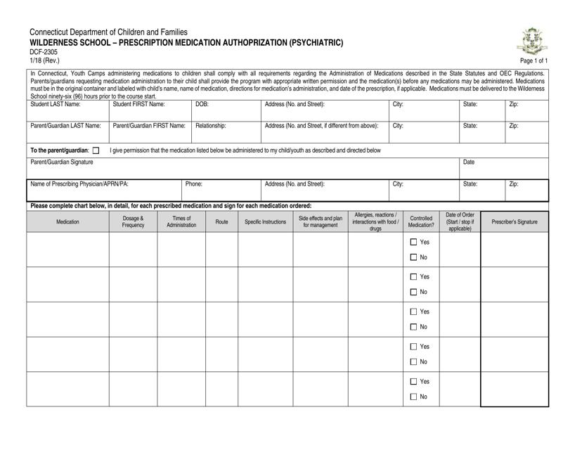 Form DCF-2305  Printable Pdf
